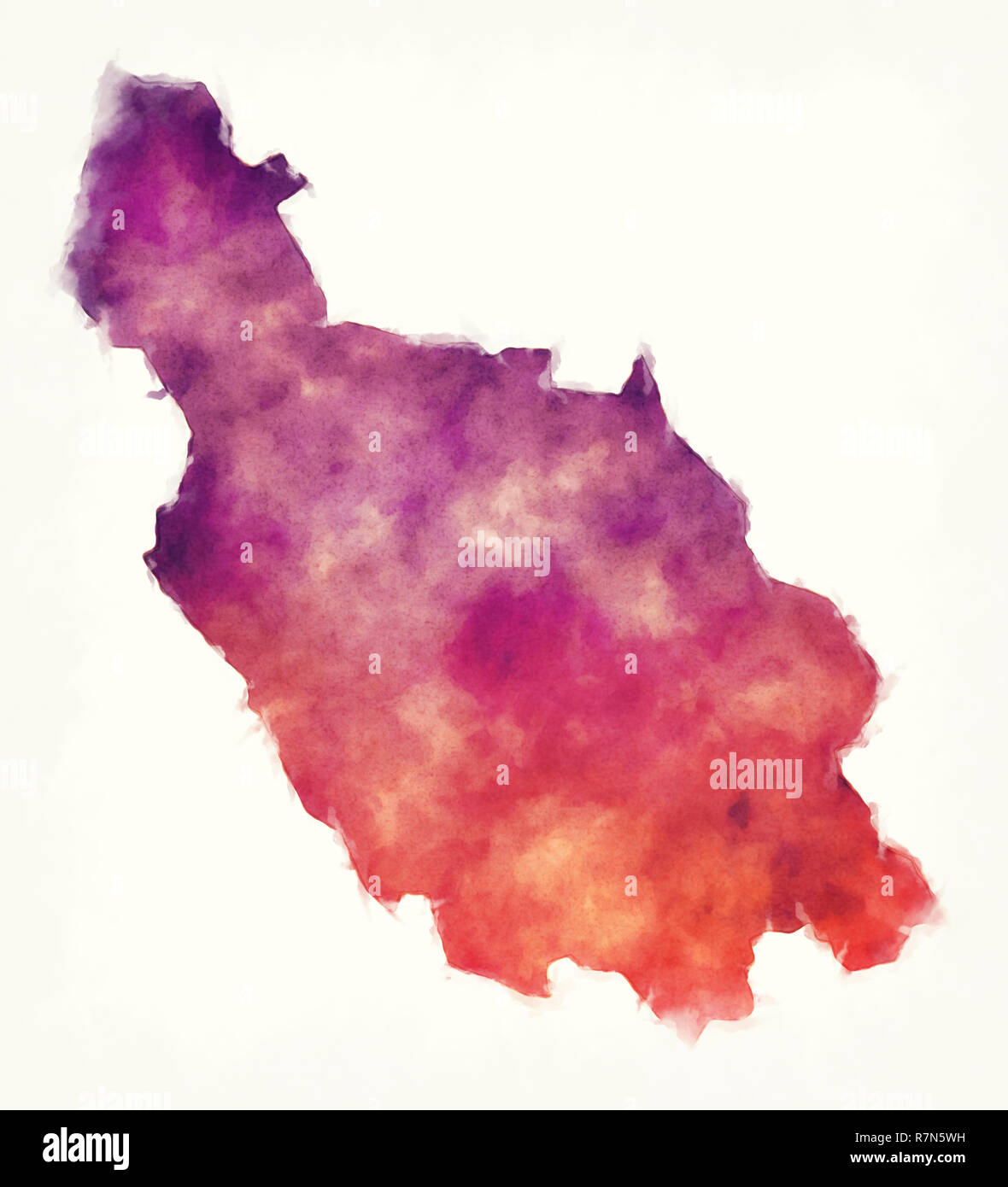 Dalarna county watercolor map of Sweden in front of a white background - Stock Image