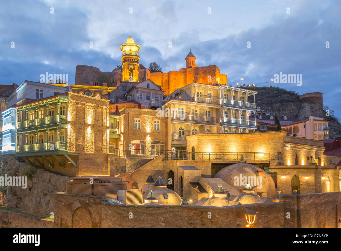Evening view of Sulphur baths of old town district of Tbilisi, Georgia - Stock Image