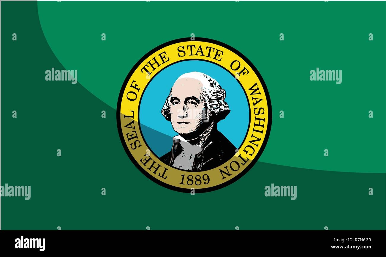 The flag of the state of Washington with the Washington State Seal motif and shadow - Stock Vector