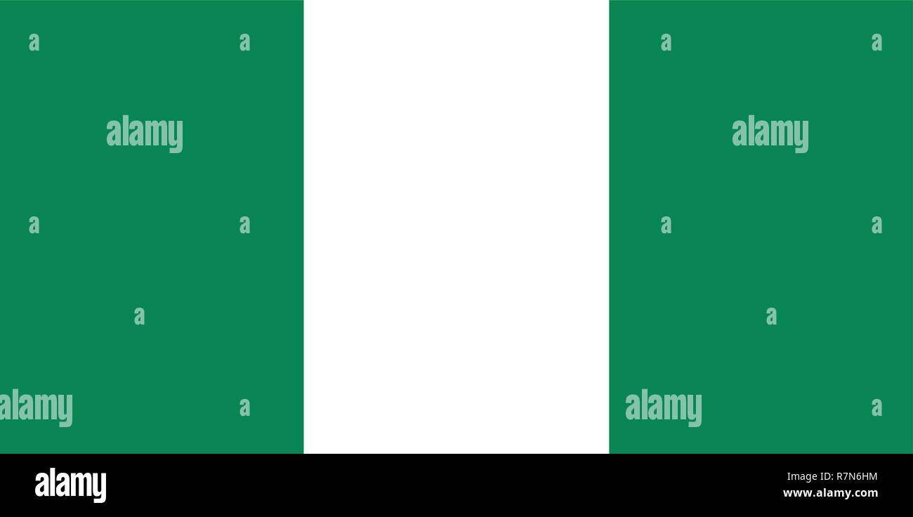 The flag of the African country of Nigeria - Stock Vector