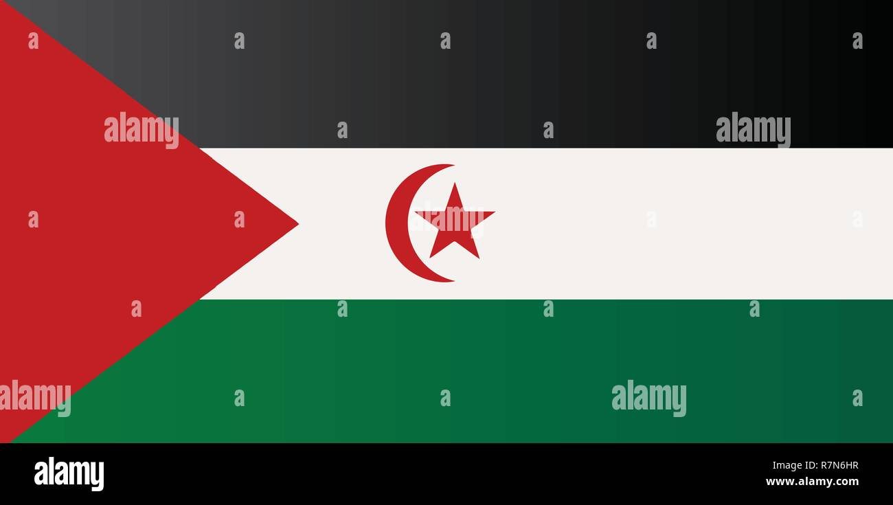 Flag of the Sahrawi Arab Democratic Republic in red white and green with crescent moon and star - Stock Image