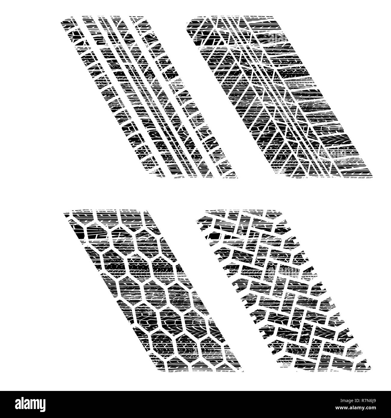 White background with different black grunge tire tracks - Stock Image