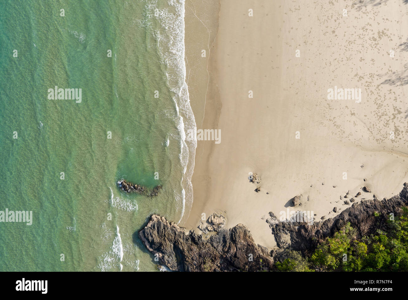 Aerial View of Noah Beach in the Daintree area of tropical far north Queensland. In this beautiful section of coast the rainforest meets the sea. - Stock Image
