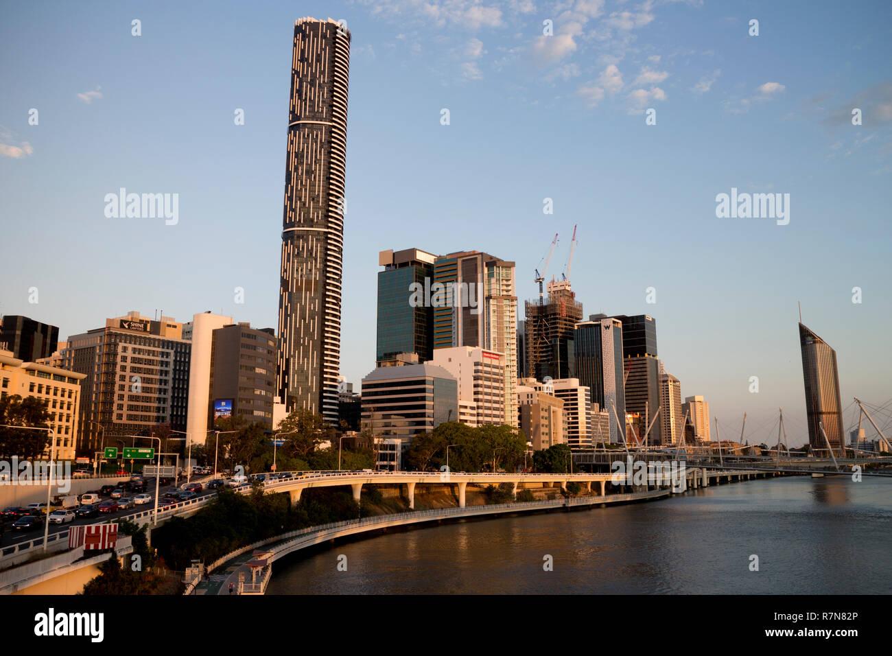 Brisbane city centre and Brisbane River, Queensland, Australia - Stock Image