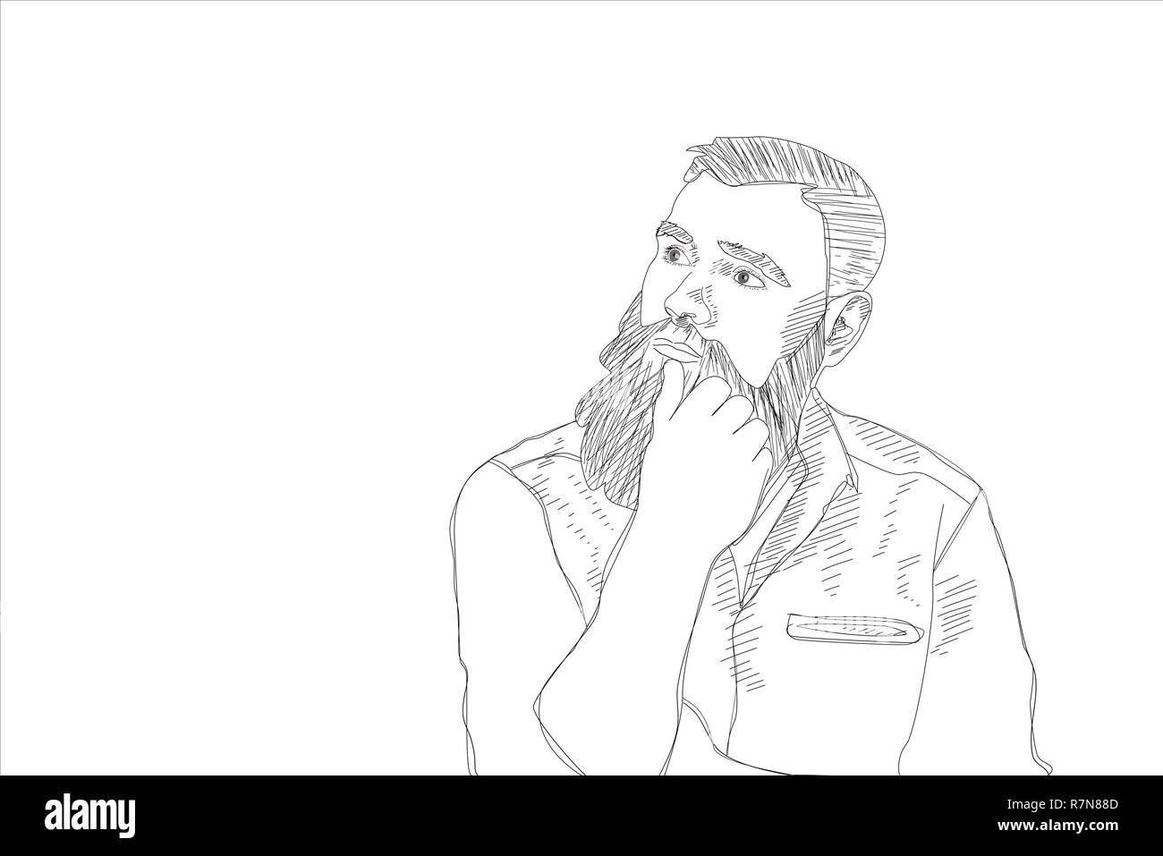 Artistic pencil sketch of a thoughtful bearded man sitting with his hand to his lips looking
