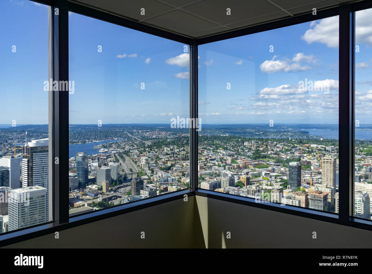 Looking at Seattle through the Sky View Observatory Tower
