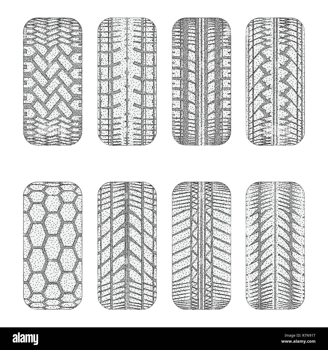 Set of eight black car tire tracks with dots - Stock Image