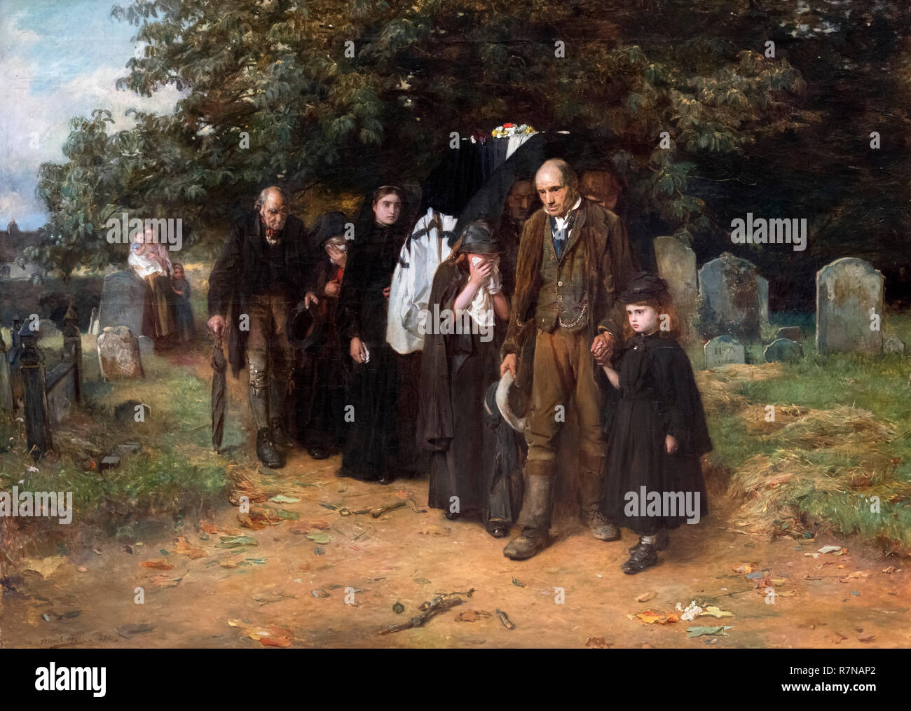 'I am the Resurrection and the Life' or 'A Village Funeral' by Frank Holl (Francis Montague Holl - 1845-1888), oil on canvas, 1872 - Stock Image