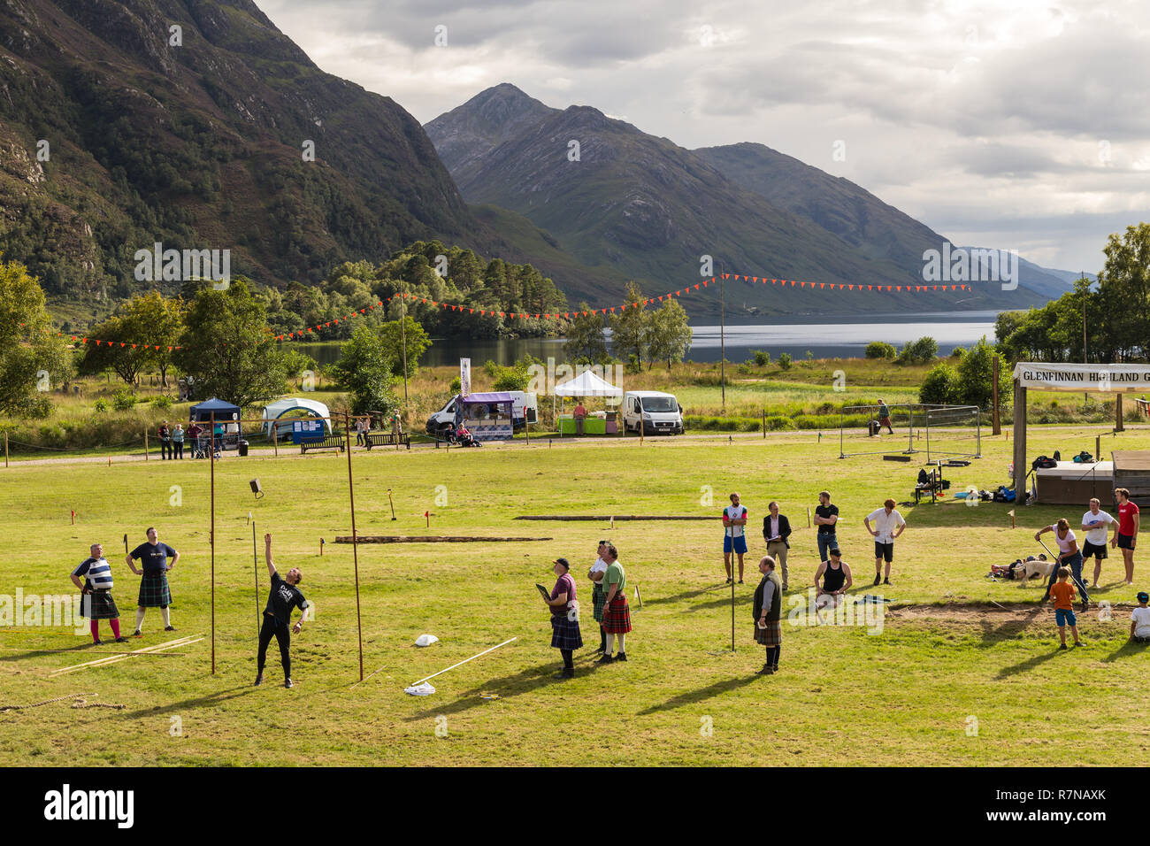 Glenfinnan Highland Games. A 'weight over the bar', or 'weight throw for height', competition is taking place. - Stock Image