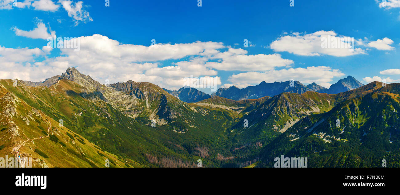 High Tatra mountains and Swinica Peak panoramic summer view - Stock Image