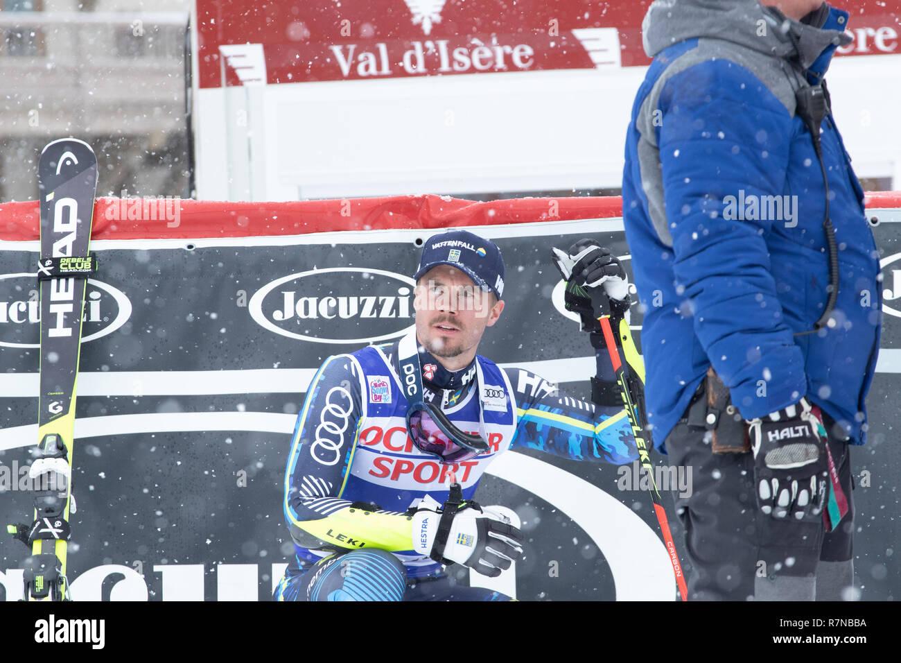 08 Dec 2018 Podium presentation Matts Olsson of Sweden 3rd in  Val d'Isere men's Giant Slalom Audi FIS Alpine Ski World Cup 2019 - Stock Image