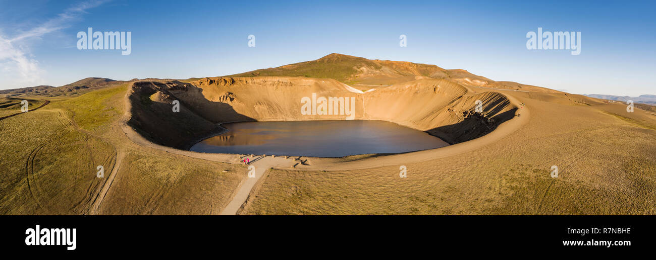 The Krafla Viti Crater, Northern Iceland. This image is shot using a drone. - Stock Image
