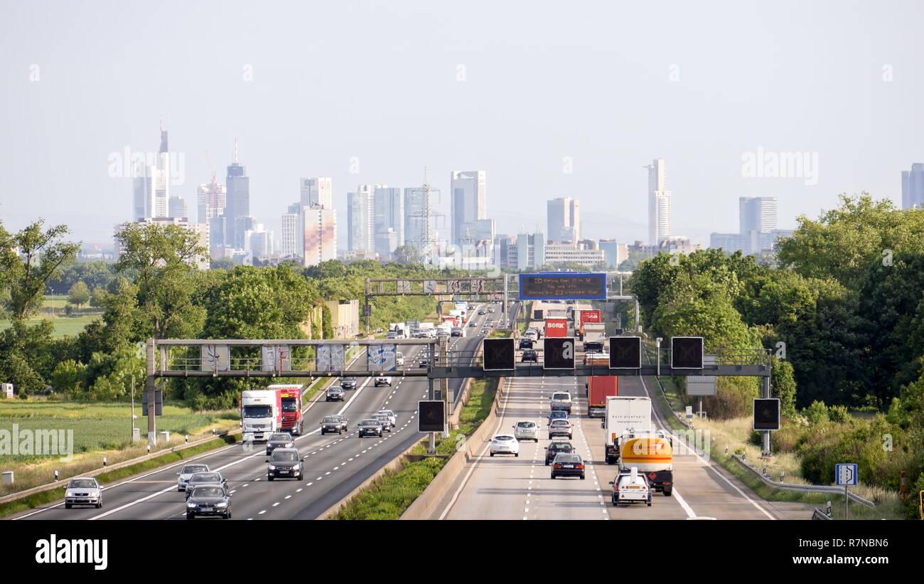 german autobahn traffic on the a5 highway near frankfurt - Stock Image