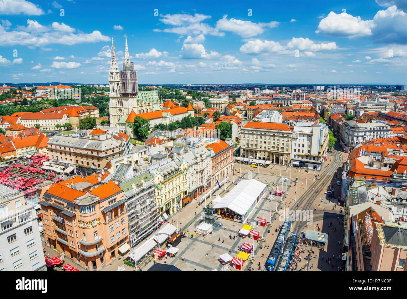 Cityscape of Zagreb (Croatia) Stock Photo