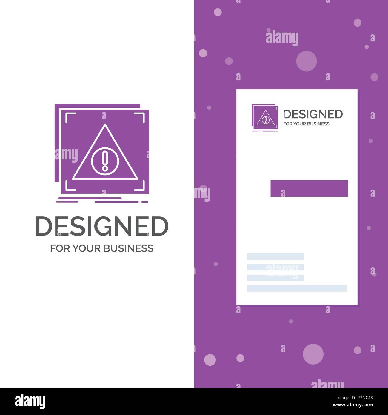 Business Logo for Error, Application, Denied, server, alert. Vertical Purple Business / Visiting Card template. Creative background vector illustratio - Stock Image