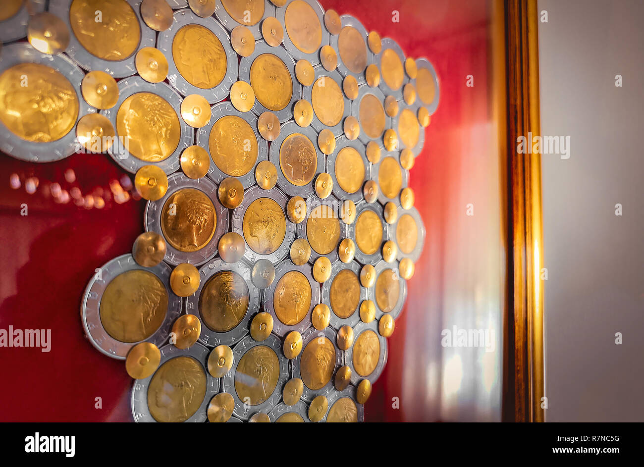 coin collecting background italian 500 lire collector numismatic backdrop - Stock Image