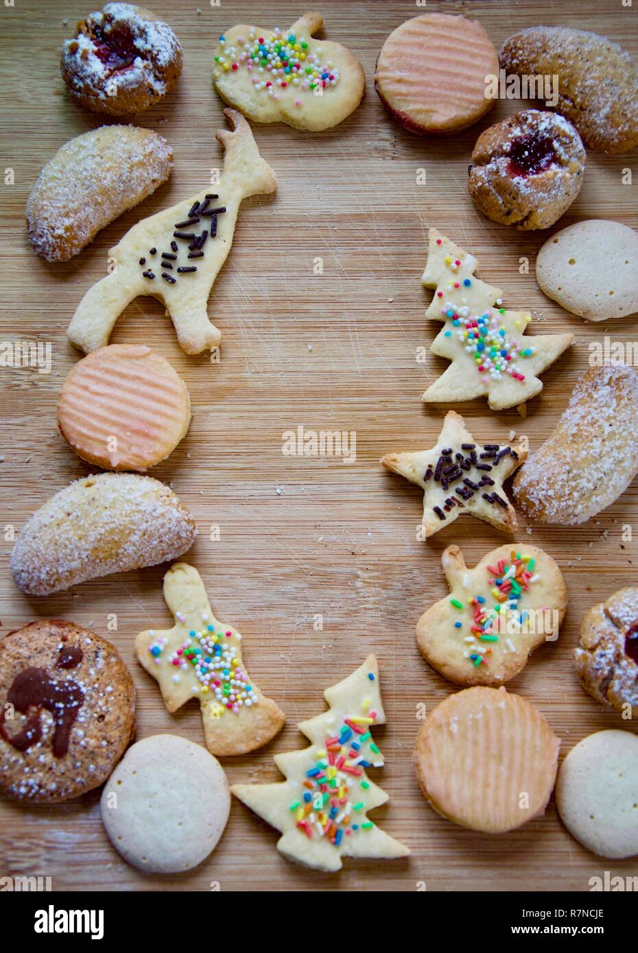 Selection Of Traditional German Christmas Cookies On A Rustic Wooden
