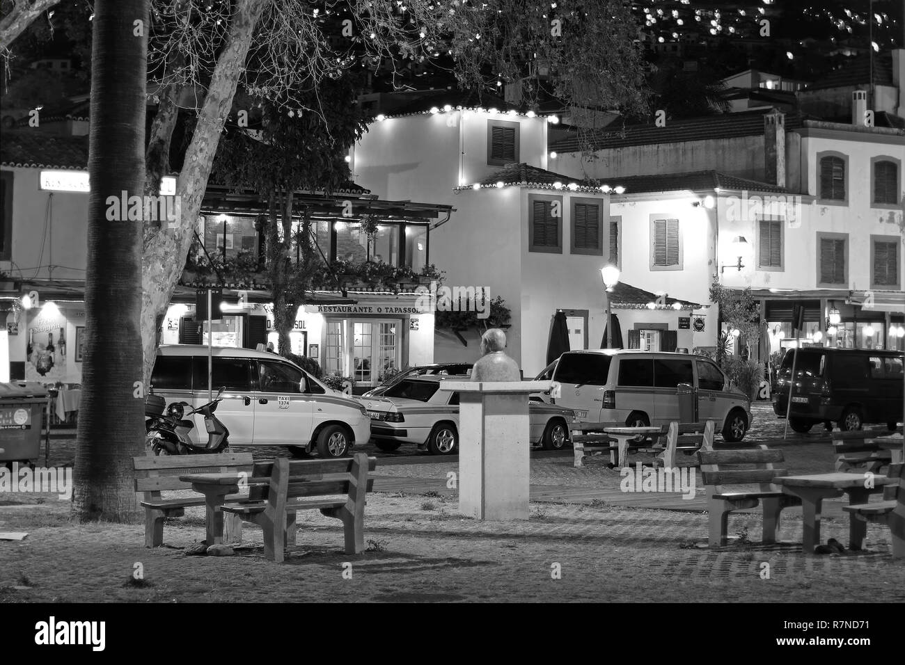 Night photography in the old city of Funchal auf Madeira - Stock Image