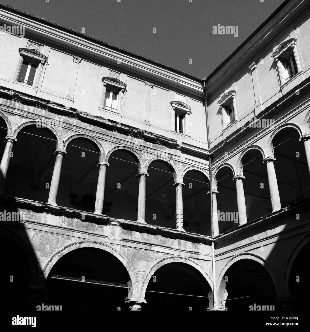 stark contrasty black and white architecture in bologny, italy. - Stock Image