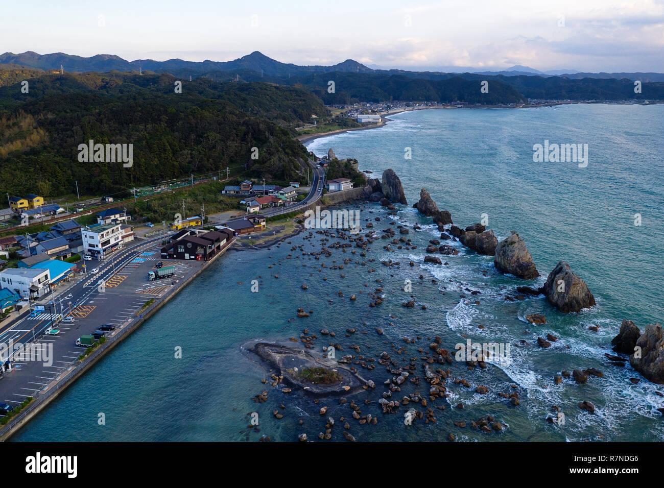 Coastline at Hashi-gui-iwa rocks, Kushimoto, Wakayama Prefecture, Japan. - Stock Image