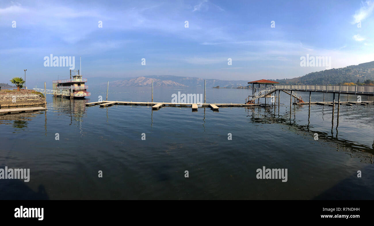 Mobile photography panorama of docks and a boat at Clear