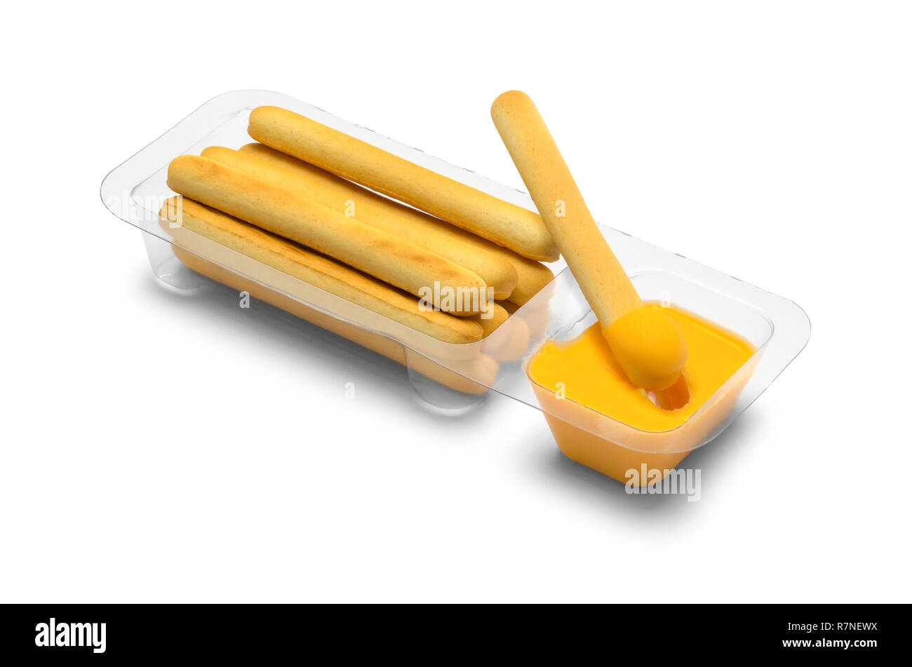 Cracker Sticks Dipped in Cheese Isolated on White Background. - Stock Image