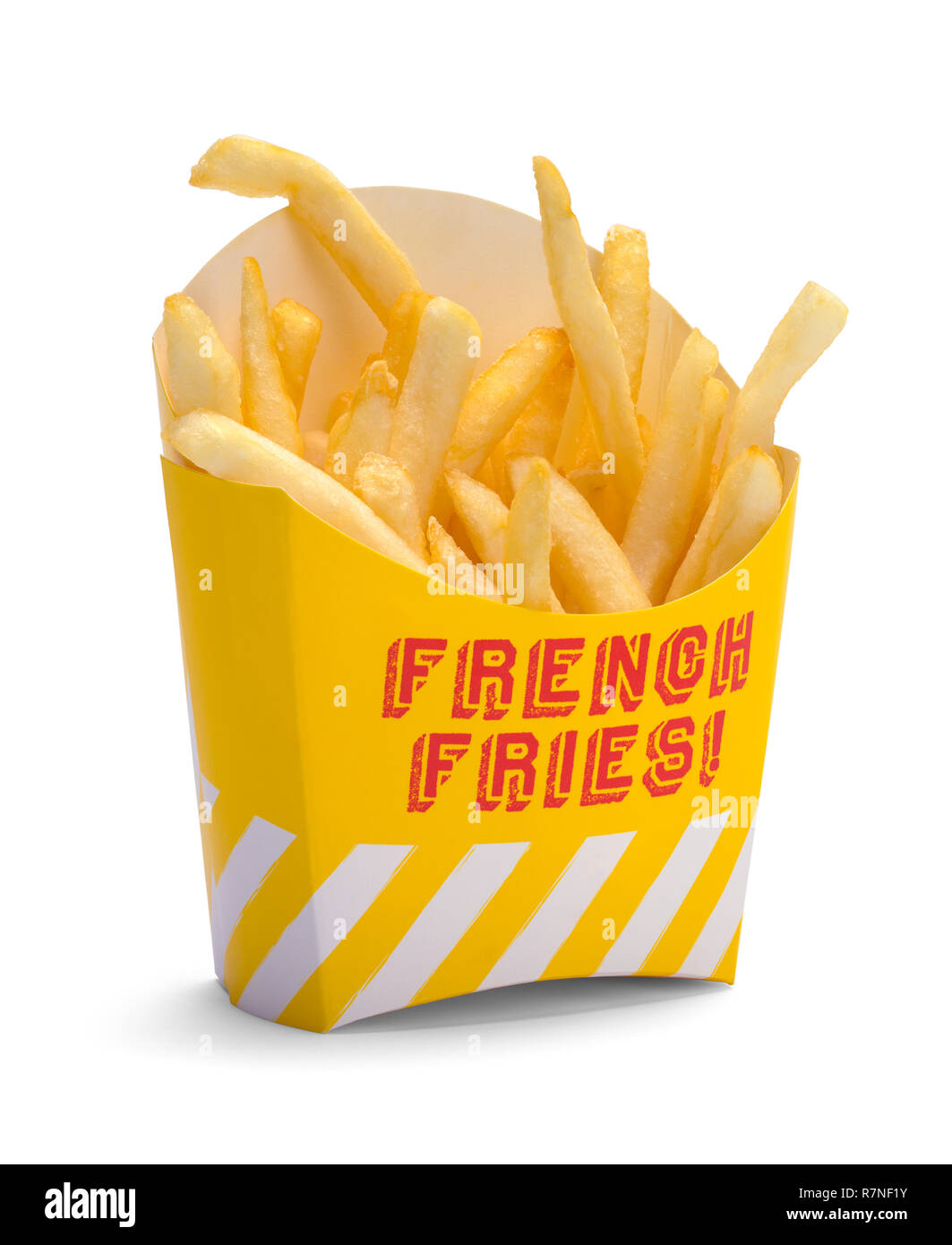 Yellow Box of French Fries Isolated on White Background. - Stock Image