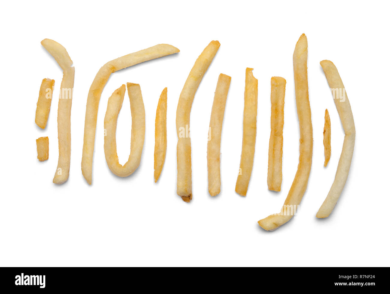 Various Shapped French Fries Isolated on White Background. - Stock Image