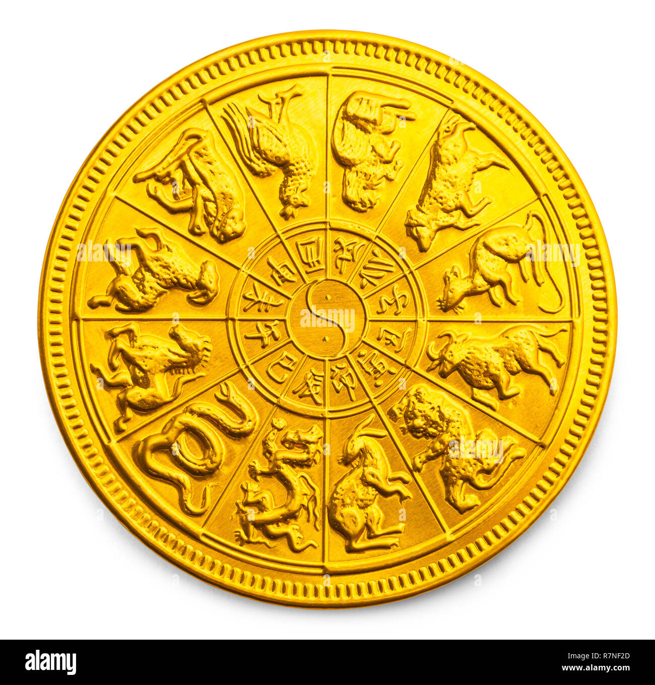 Gold Chinese New Year Calendar Zodiac Coin Isolated on White. - Stock Image