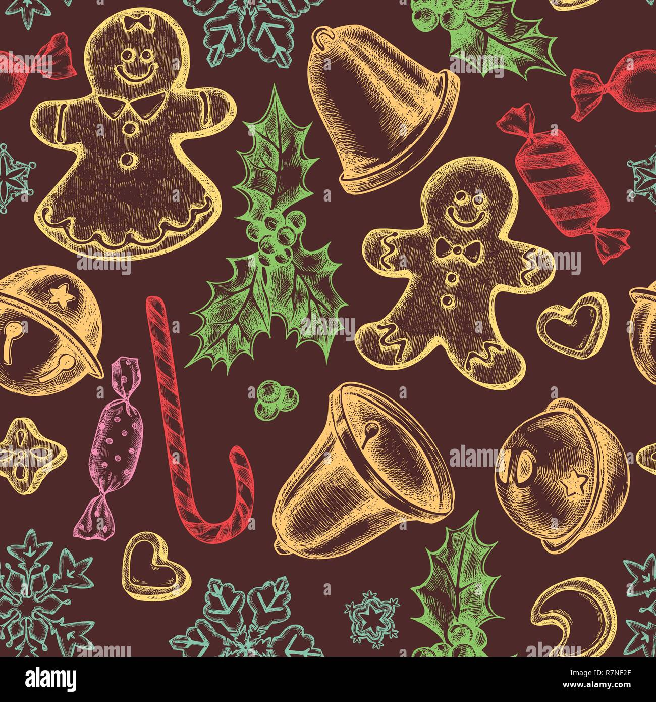 Seamless pattern with colored bells, jingles, gingerbread men, gingerbread, lollipop, candies, snowflakes, holly - Stock Image