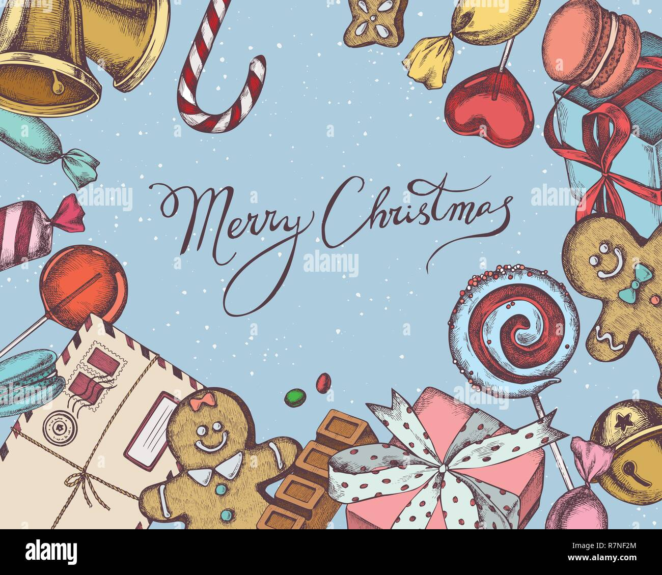 Vector composition with colored bells, jingles, gingerbread men, gingerbread, macaron, lollipop, bar, candies, stocking, lettering, gift boxes - Stock Image