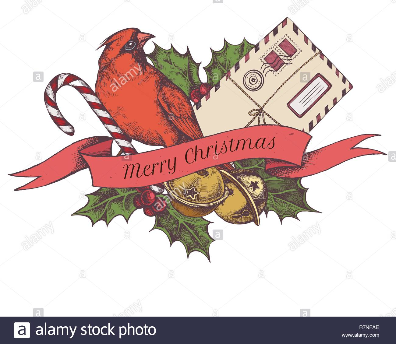 Vector composition with colored jingles, cardinal, letters, lollipop, holly - Stock Image