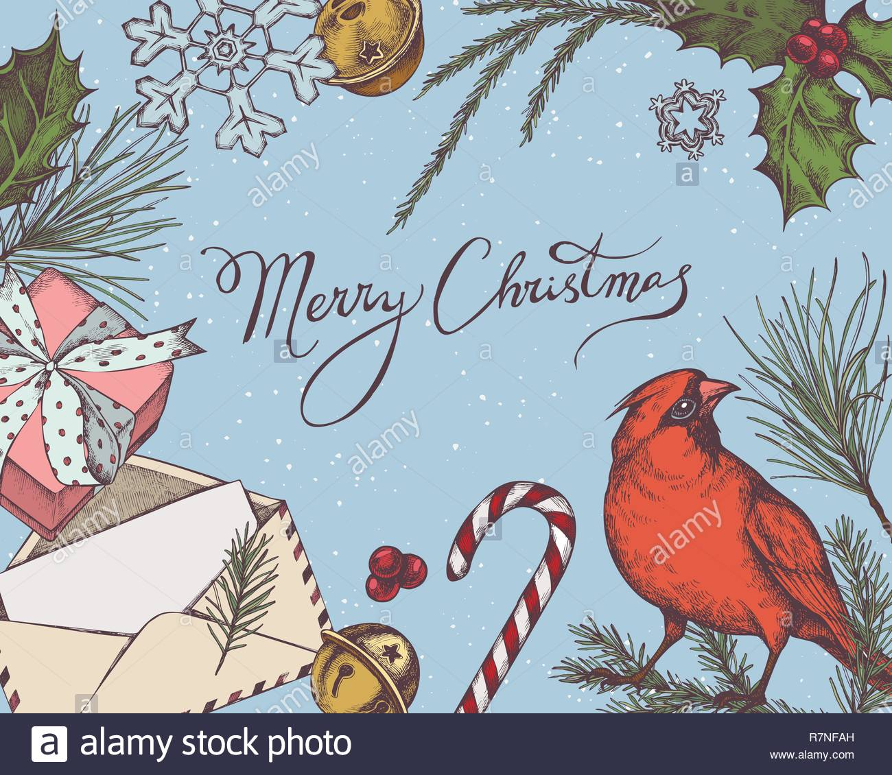 Vector composition with colored jingles, cardinal, lollipop, snowflakes, lettering, holly, pine branch, spruce, gift boxes, redwood - Stock Image
