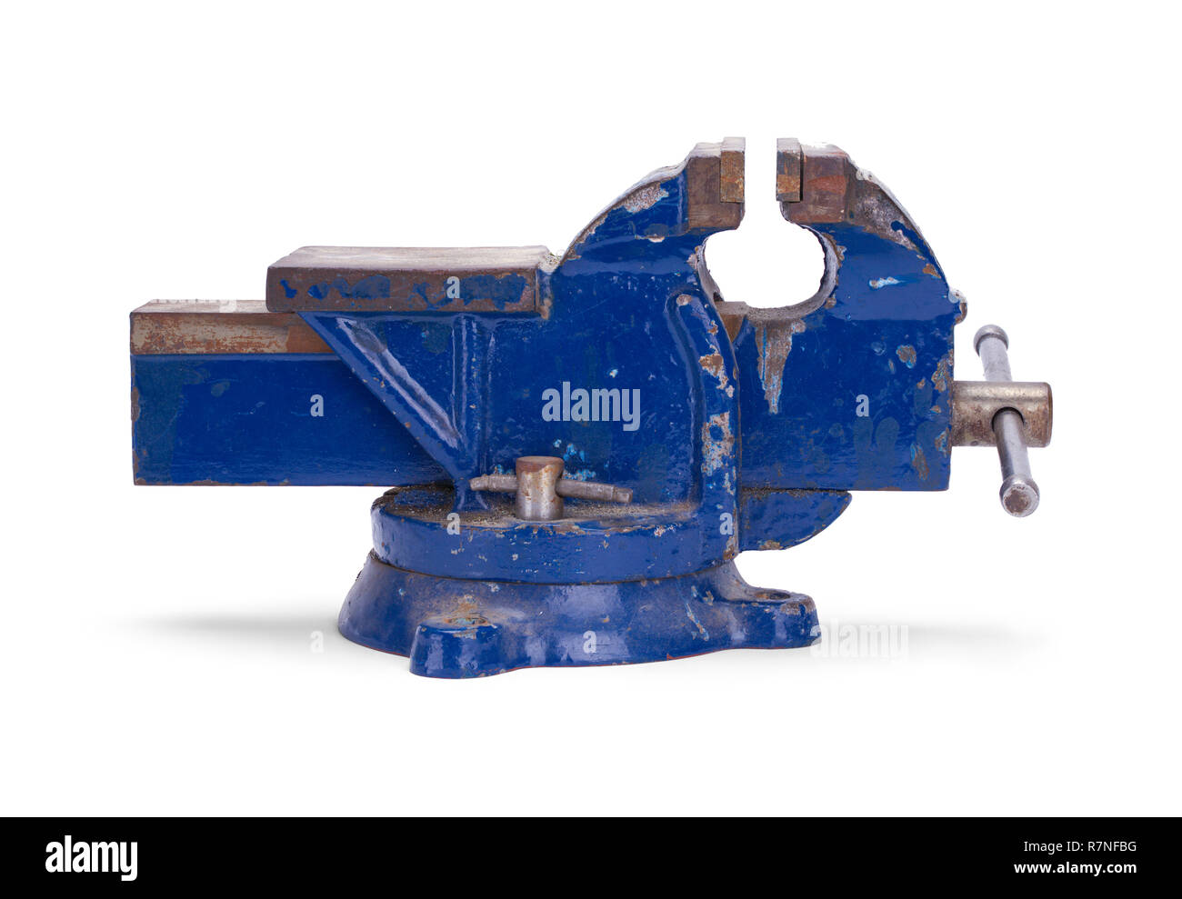 Worn Blue Anvil Vise Clamp Isolated on a White Background. - Stock Image