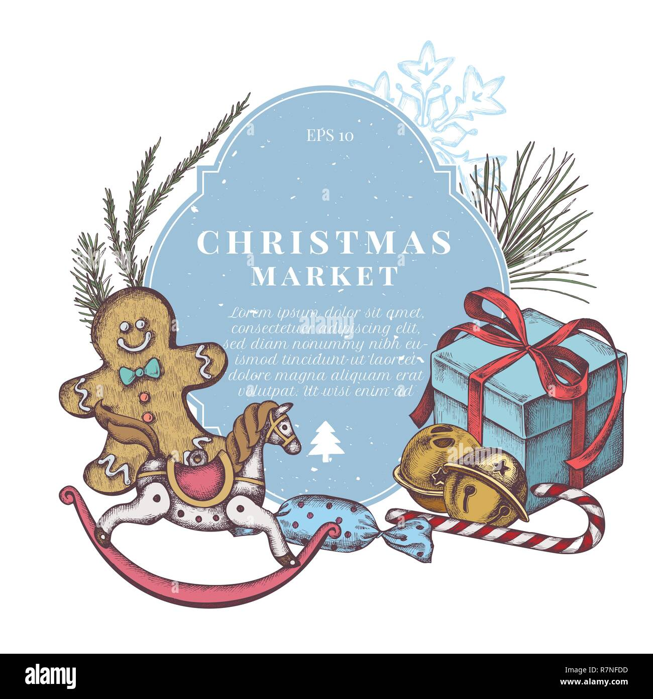 Vector composition with colored gingerbread men, jingles, snowflakes, lollipop, candies, gift boxes, pine branch, spruce, redwood, toy horse - Stock Image