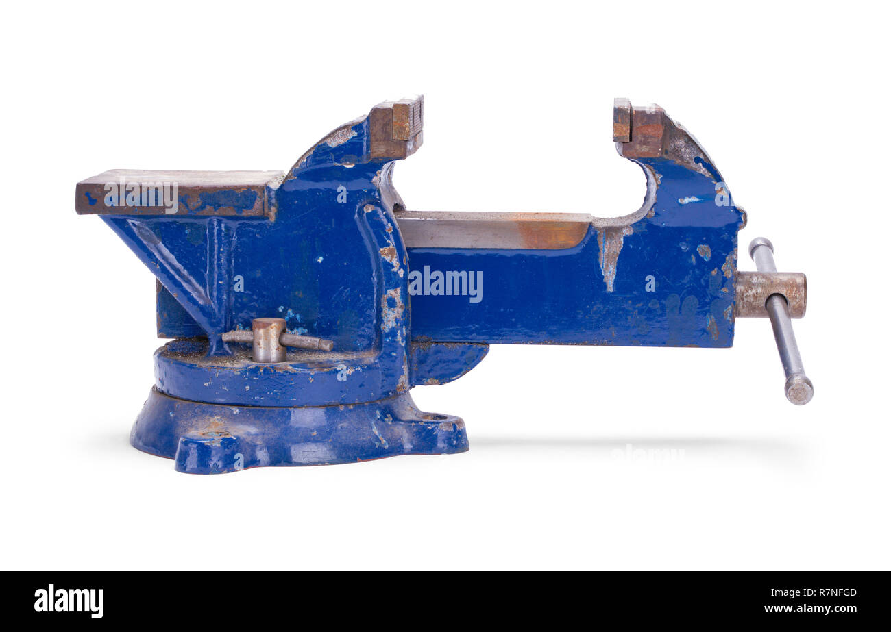 Open Worn Blue Anvil Vise Clamp Isolated on a White Background. - Stock Image
