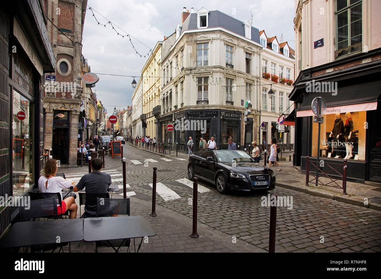 France Nord Lille Old Lille Cafe Terrace And Shops Of Basse Street Stock Photo Alamy