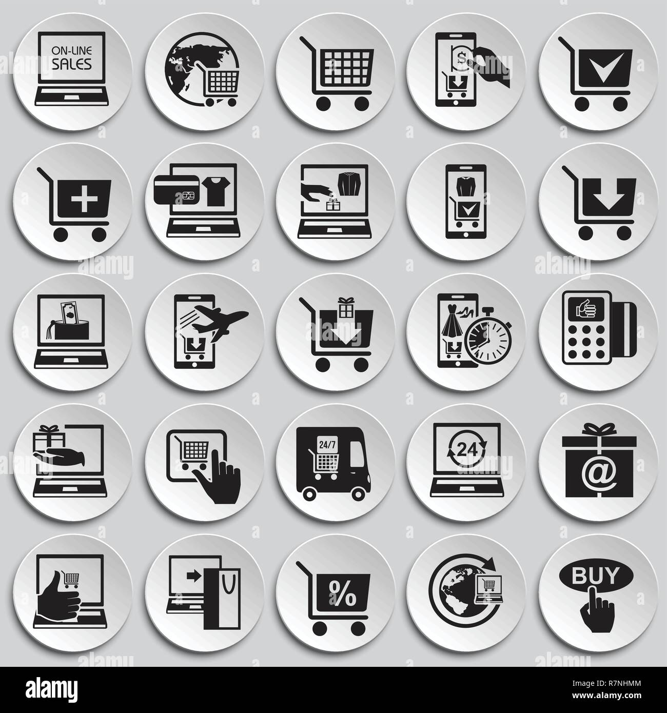 Online shopping icons set on plates background for graphic