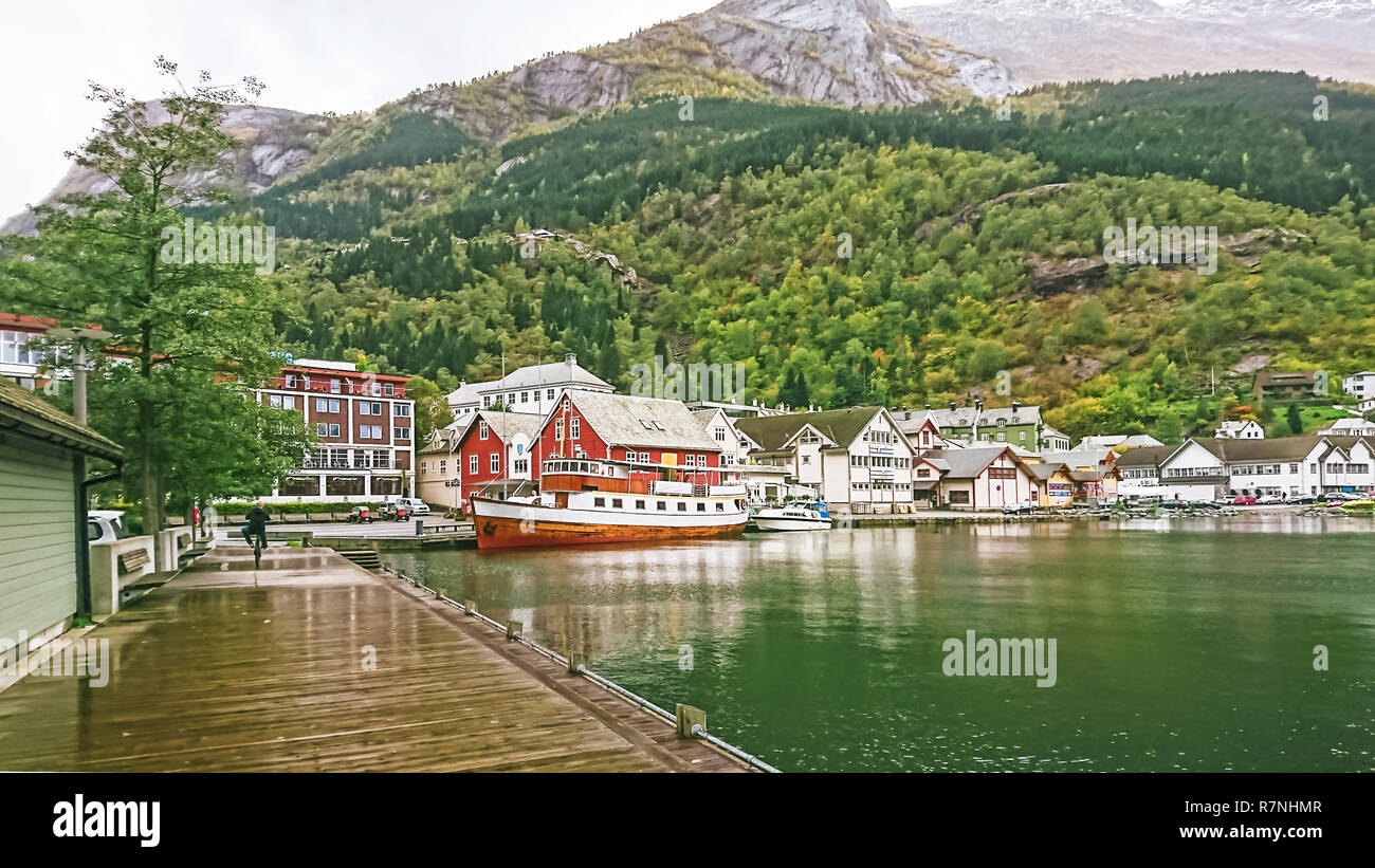 Odda is a town in the county of Hordaland of the Hardanger region, surrounding the southern part of Surfjorden in Norway. Located near Trolltunga. - Stock Image