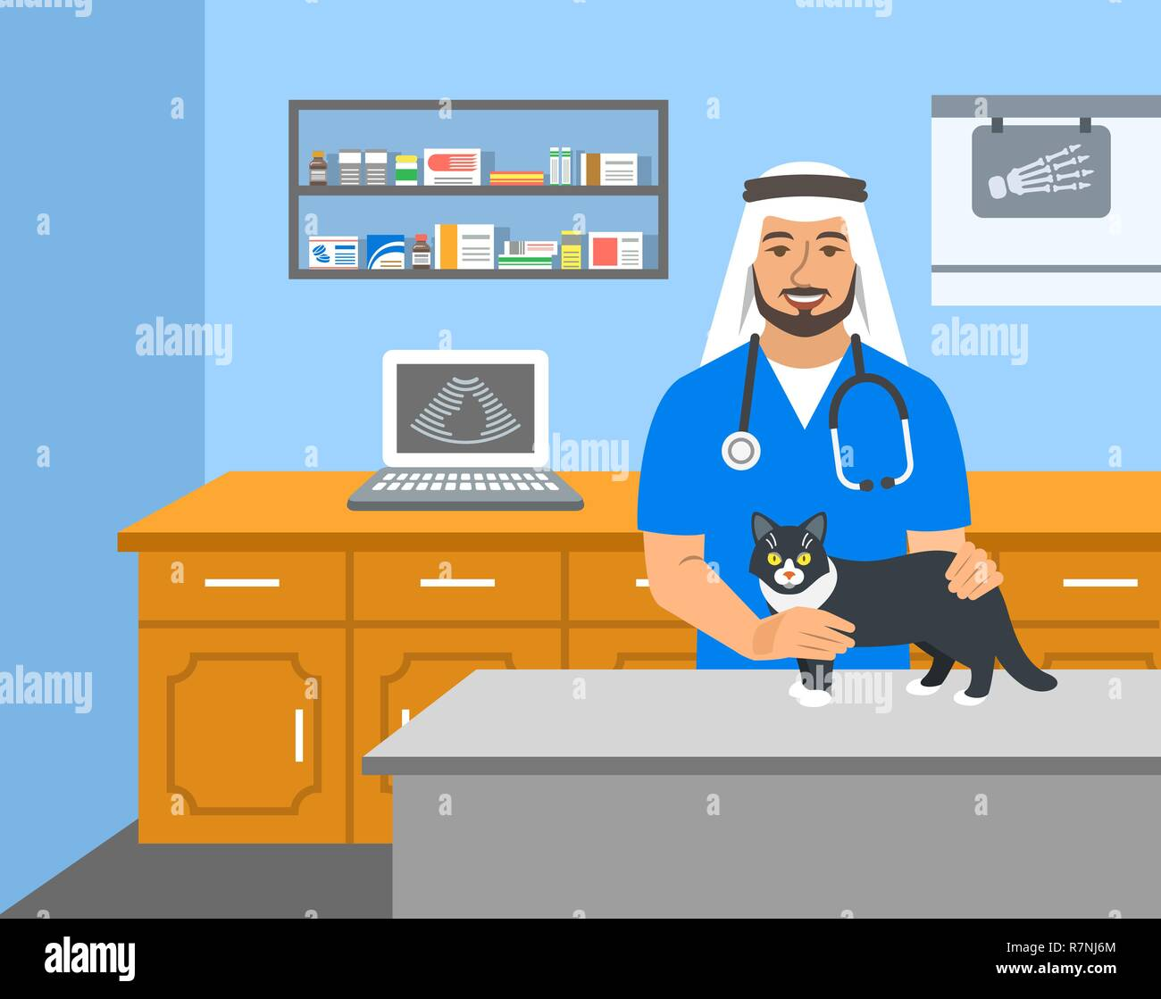 Veterinarian doctor arab man holds cat on examination table in vet clinic. Vector cartoon illustration. Pets health care background. Domestic animals  - Stock Vector