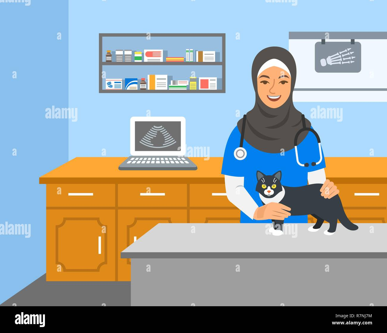 Veterinarian doctor arab woman holds cat on examination table in vet clinic. Vector cartoon illustration. Pets health care background. Domestic animal - Stock Vector