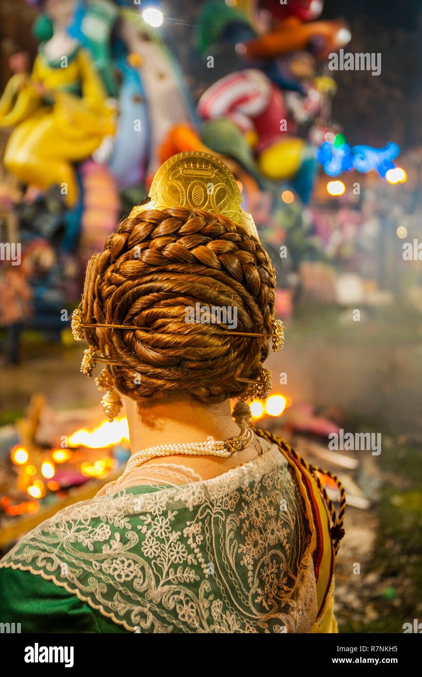 Fallas festival. La Crema. Ninots burned in St Joseph night. Valencia. Valencian Community. Spain. Intangible Cultural Heritage of Humanity. UNESCO - Stock Image