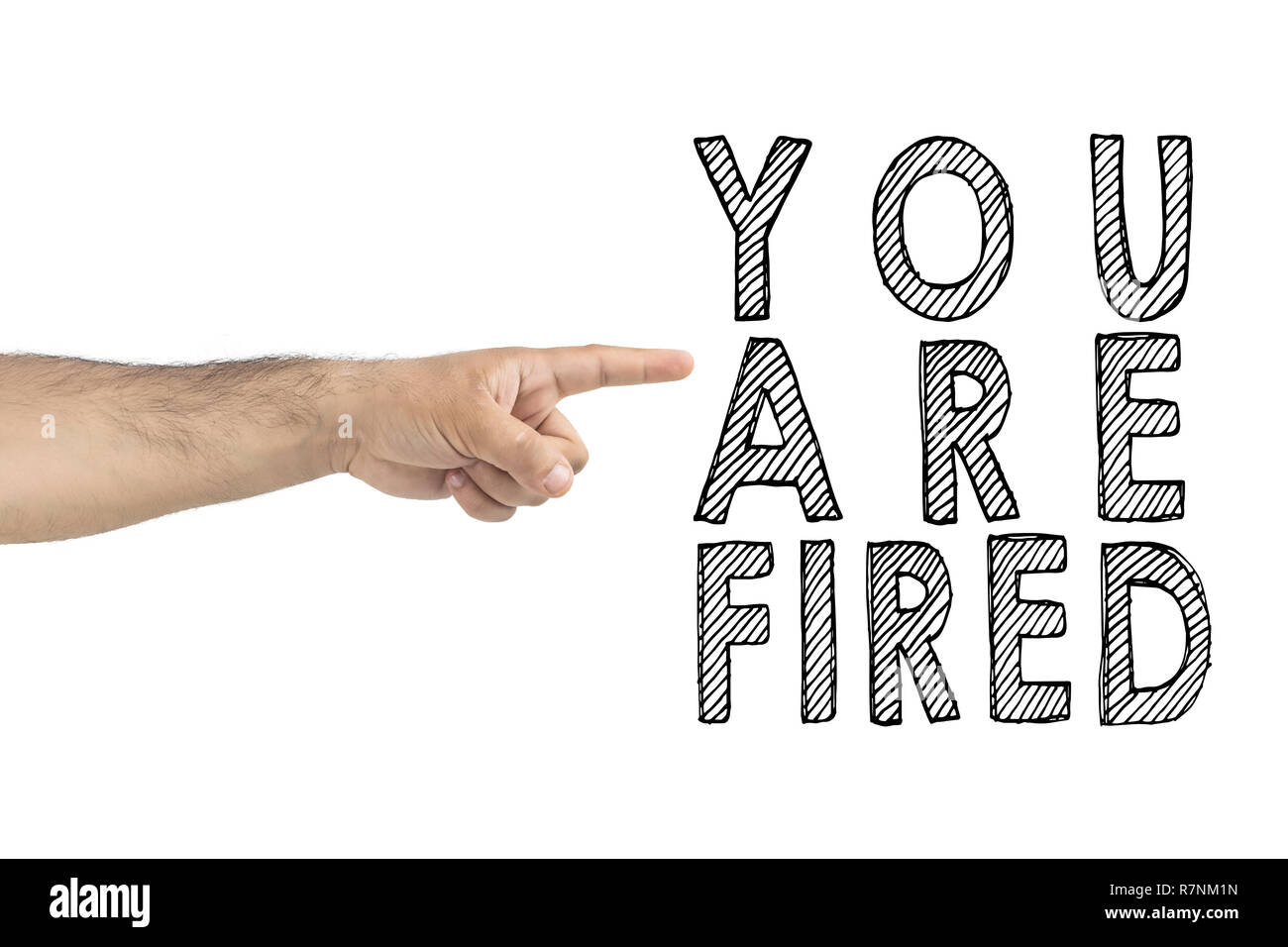 You are fired. boss gesturing way out hand sign with index finger. BUSINESSMAN FIRED EMPLOYEE. HR, business, concept. Stock Photo