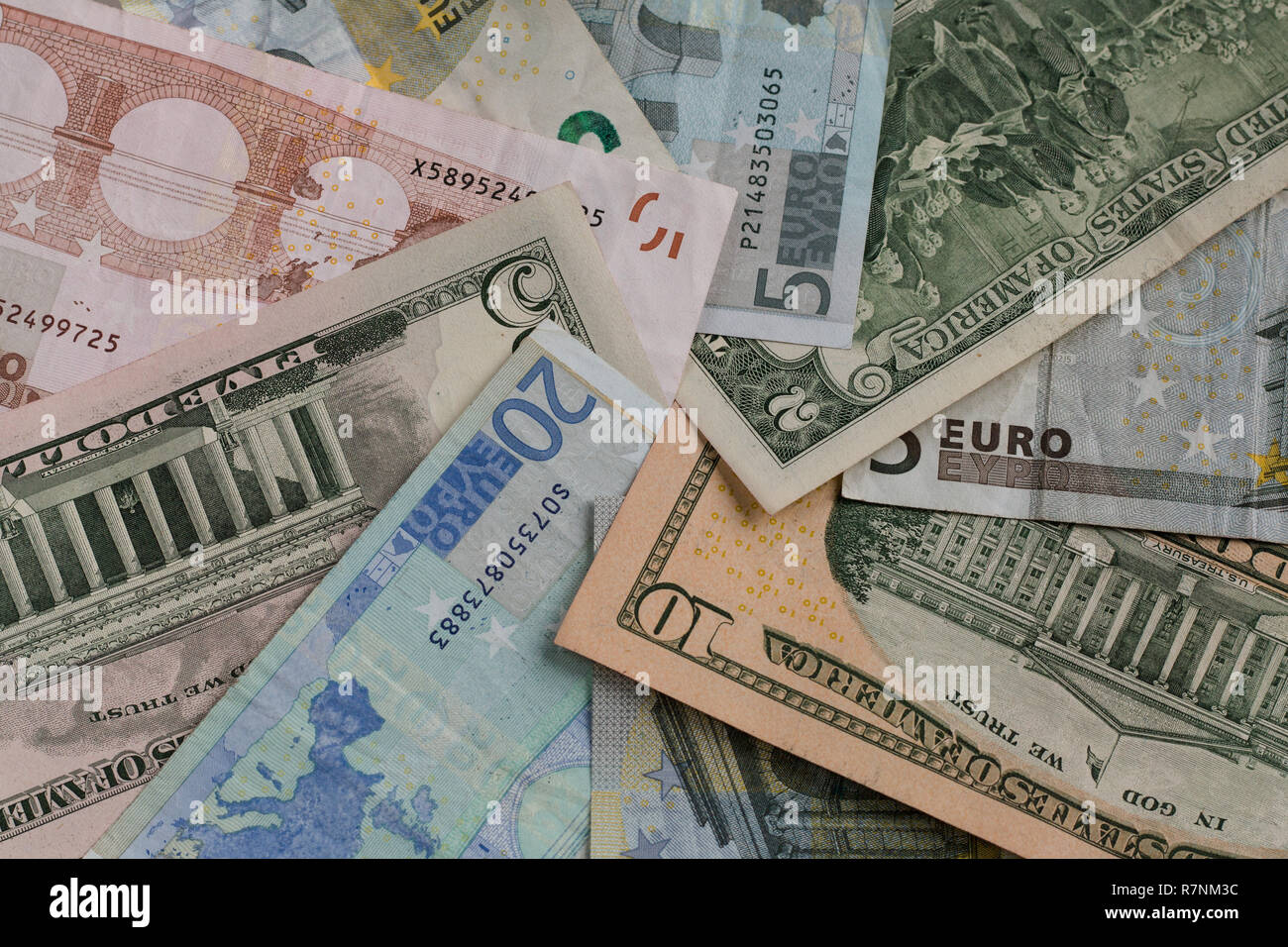 Euro Eur And Us Dollars Usd Currency Banknote Background Major Reserve Currencies