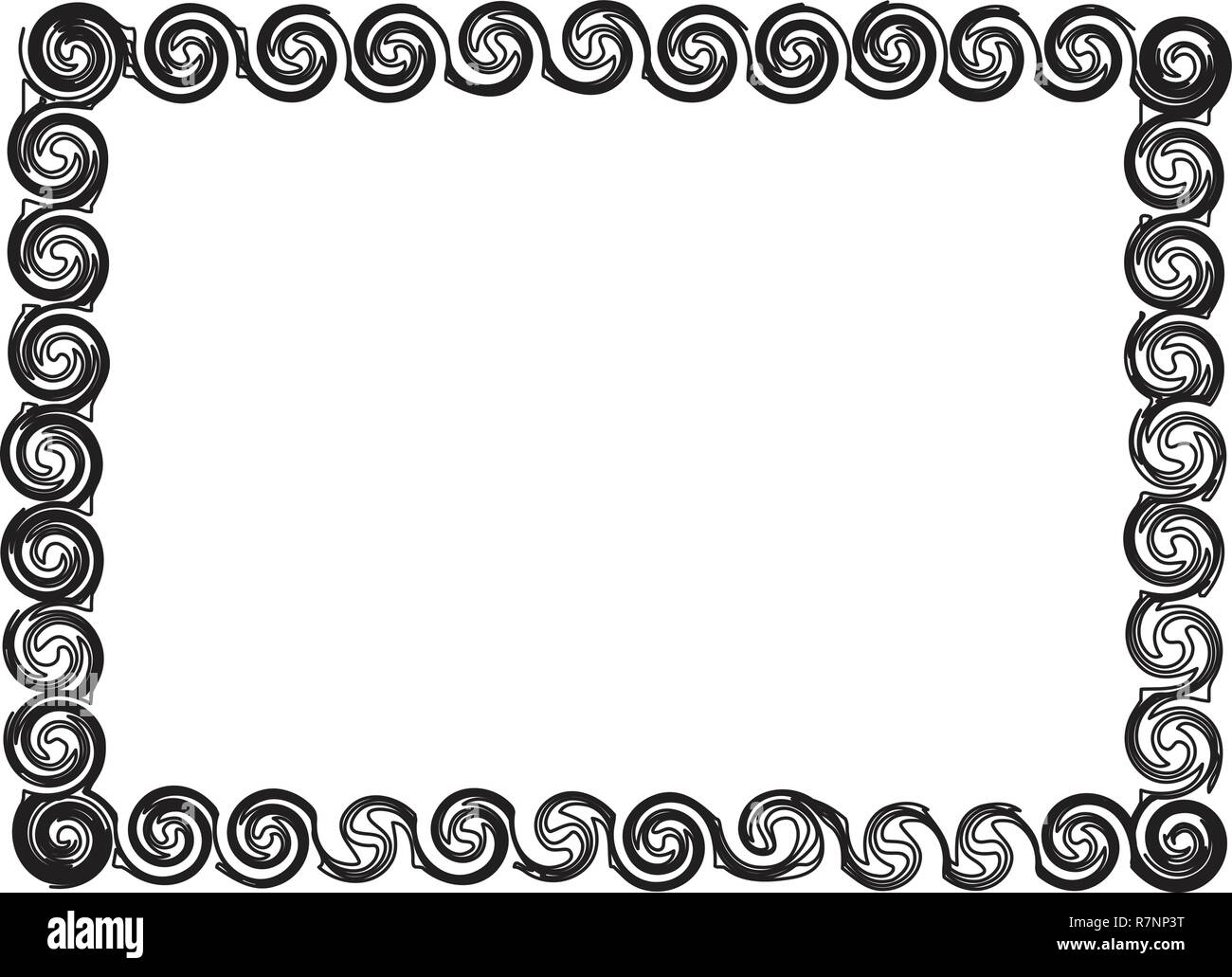 Grunge frame with scribble circles - Stock Image