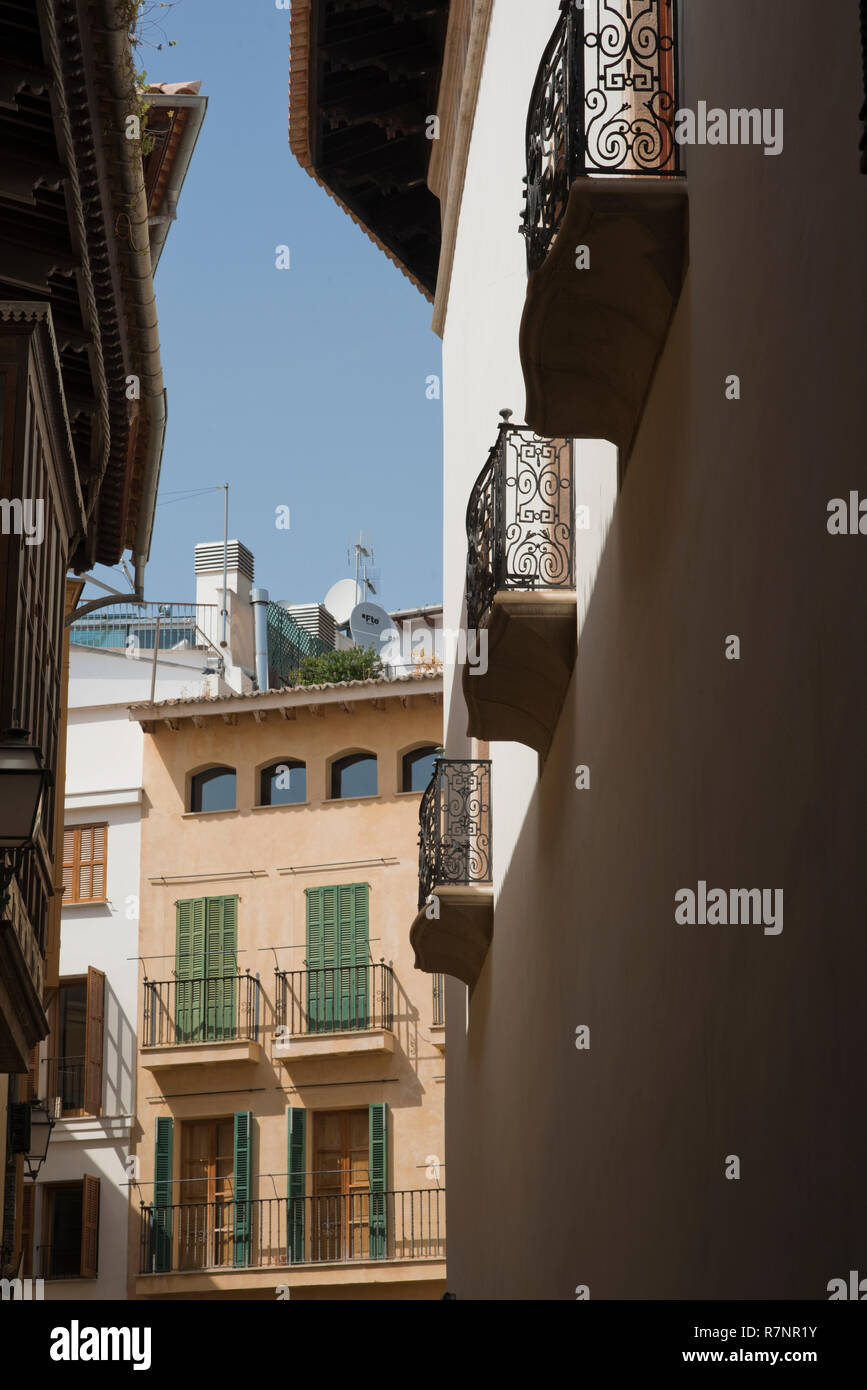 Balconies On Upper Stories Of Buildings In The Calle De La Portella