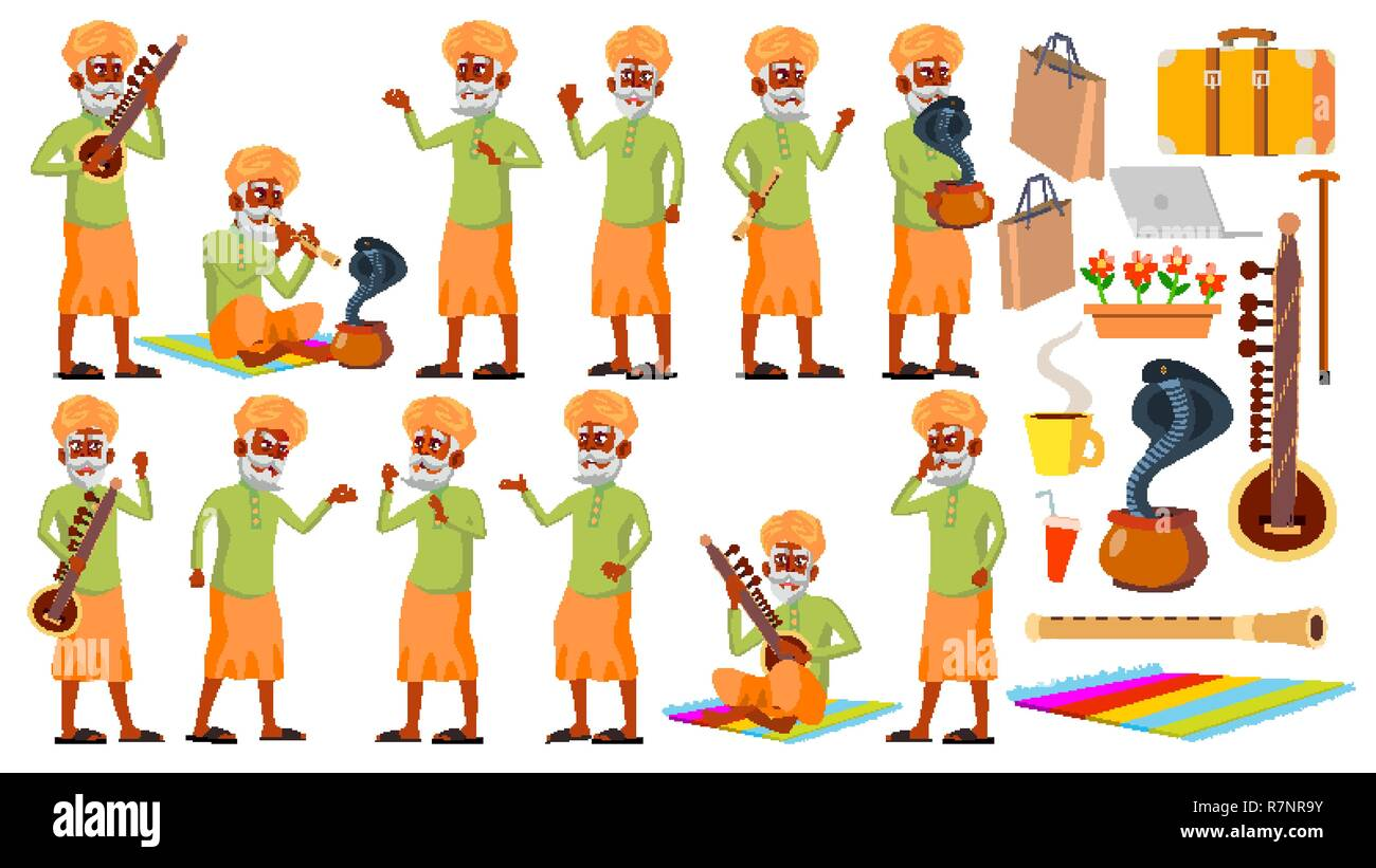 Indian Old Man Poses Set Vector. Hindu. Asian. Elderly People. Senior Person. Aged. Snake Cobra Dance. Presentation, Invitation, Card Design. Isolated Cartoon Illustration - Stock Vector