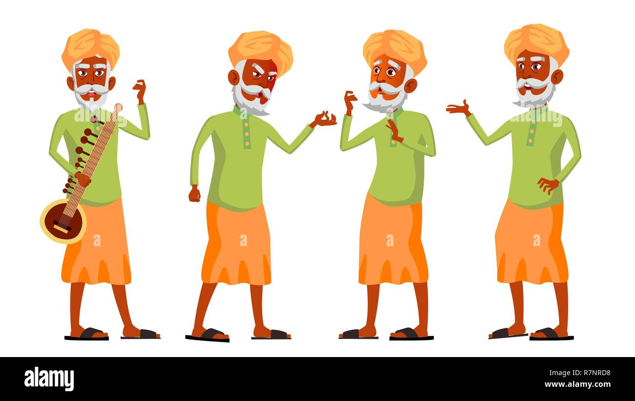 Indian Old Man Poses Set Vector. Hindu. Asian. Elderly People. Senior Person. Aged. Lifestyle. Postcard, Cover, Placard Design. Isolated Cartoon Illustration - Stock Vector