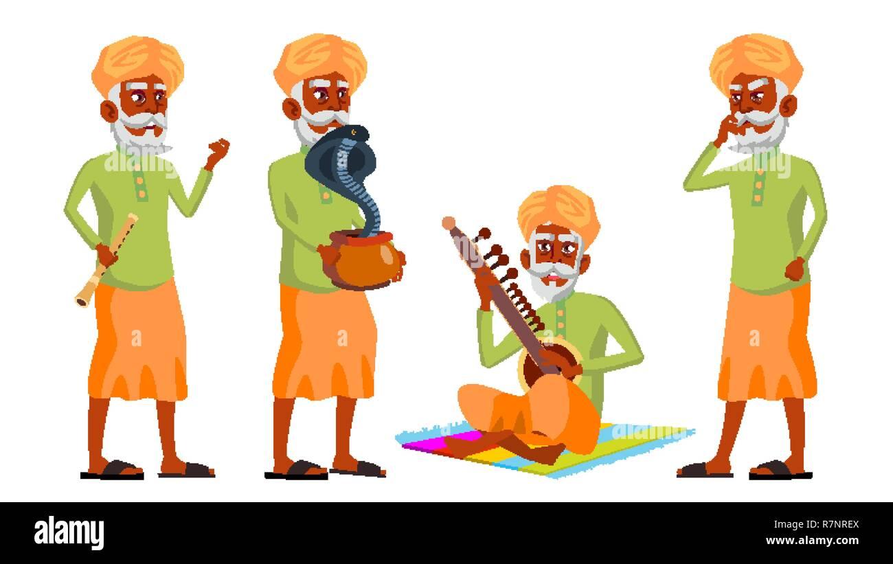 Indian Old Man Poses Set Vector. Hindu. Asian. Elderly People. Senior Person. Aged. Snake Cobra Dance. Web, Brochure, Poster Design. Isolated Cartoon Illustration - Stock Vector
