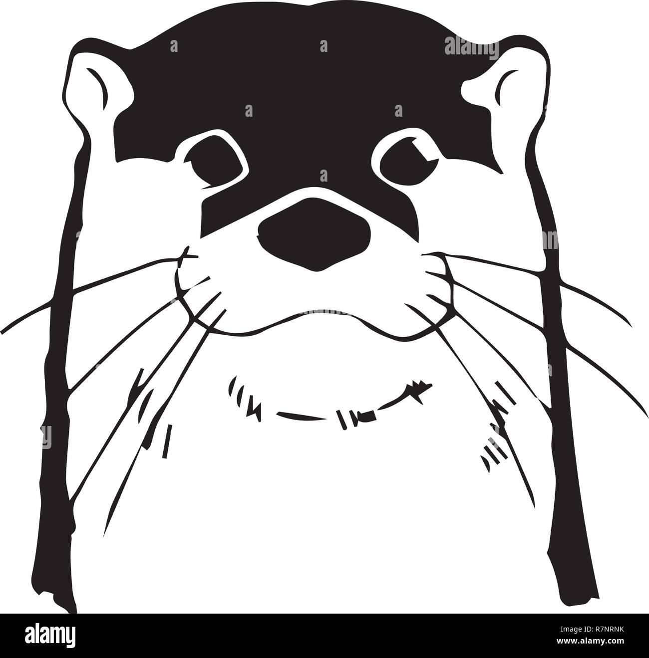 Otter head vector illustration Stock Vector